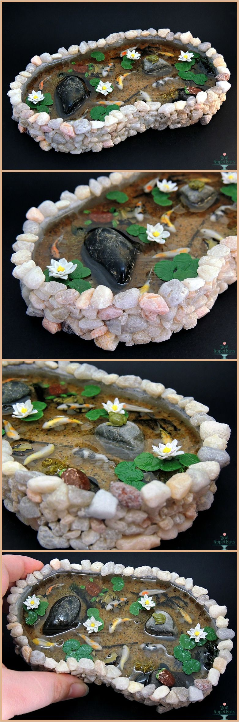 Bon appeteats commission for a large stone pond with 9 for Clay fish pond
