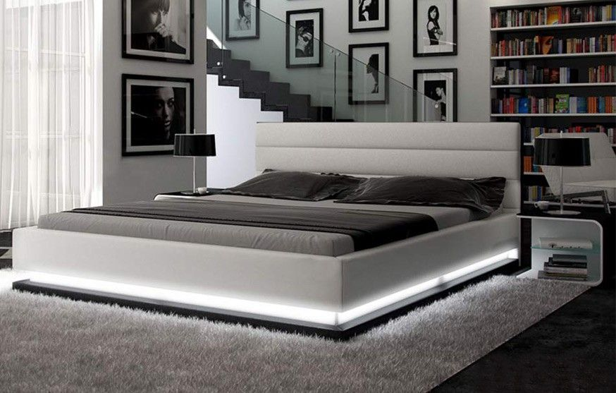 Infinity Contemporary White Platform Bed W Lights