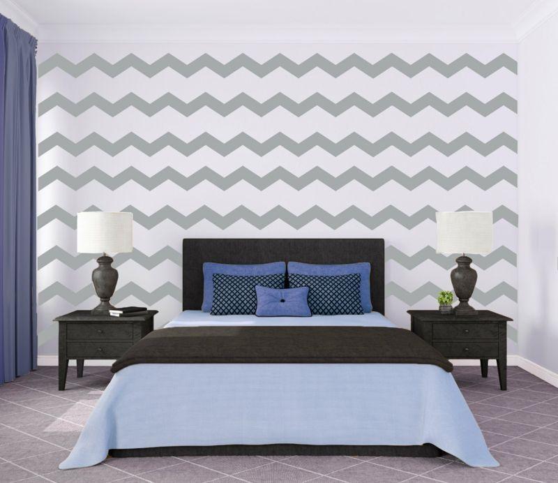 wandmuster ideen zickzack grau weiss schlafzimmer einrichtung bett ...