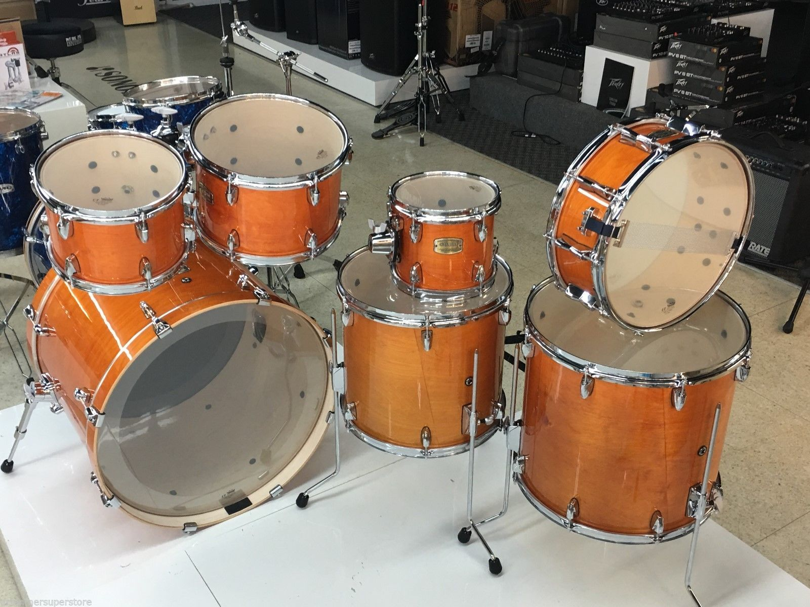yamaha stage custom birch drum set honey amber 7 piece