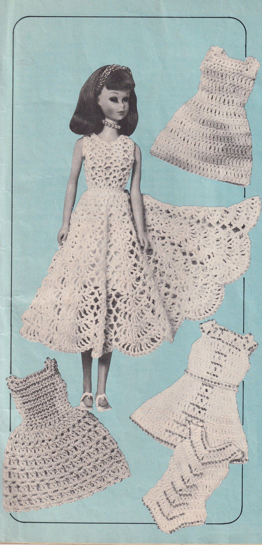 Vintage Crochet Digital Pattern For 5 Barbie Beaded