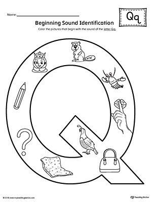 Letter Q Beginning Sound Color Pictures Worksheet
