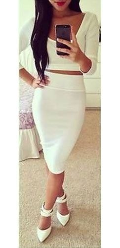 White Textured Long Sleeve Scoop Crop Top High Waisted Pencil Midi ...