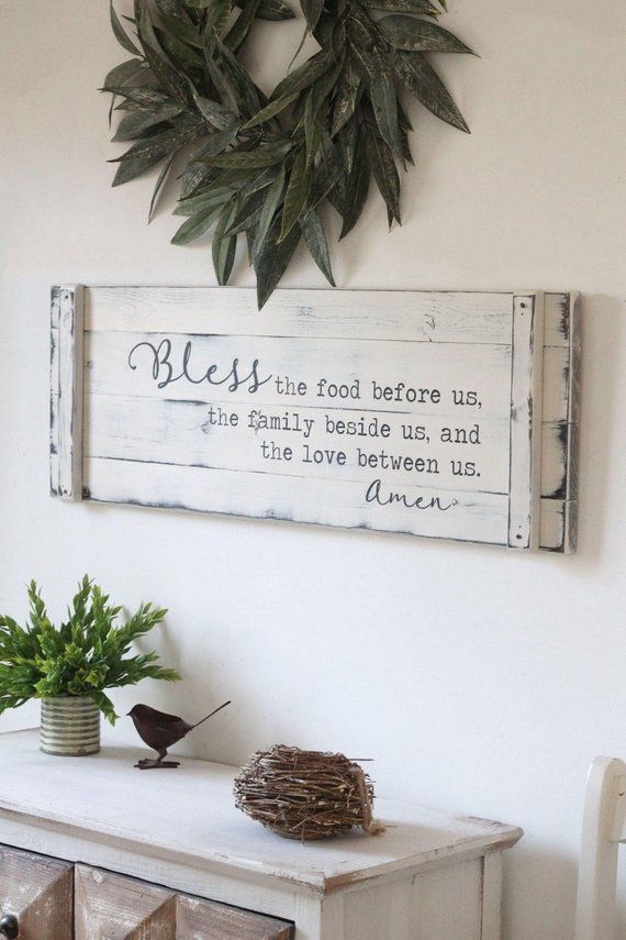 BLESS THE FOOD before us 36x12 rustic dining Etsy