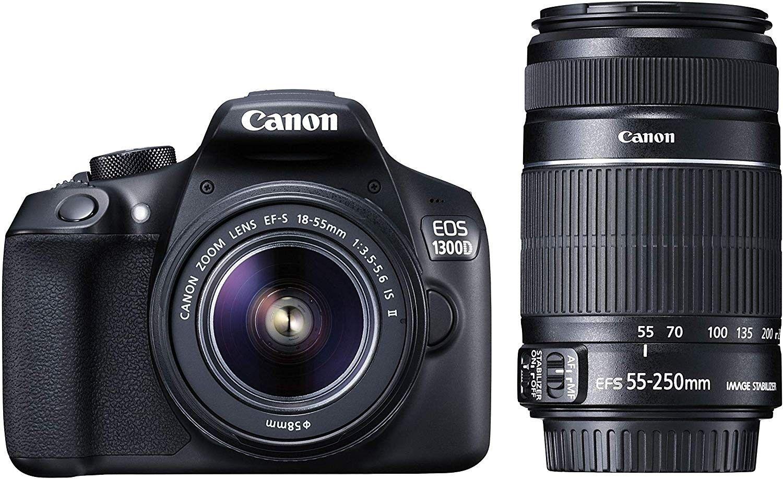 Canon Eos 1300d 18mp Digital Slr Camera Black With 18 55 And 55 250mm Is Ii Lens 16gb Card Best Dslr Dslr Digital Slr