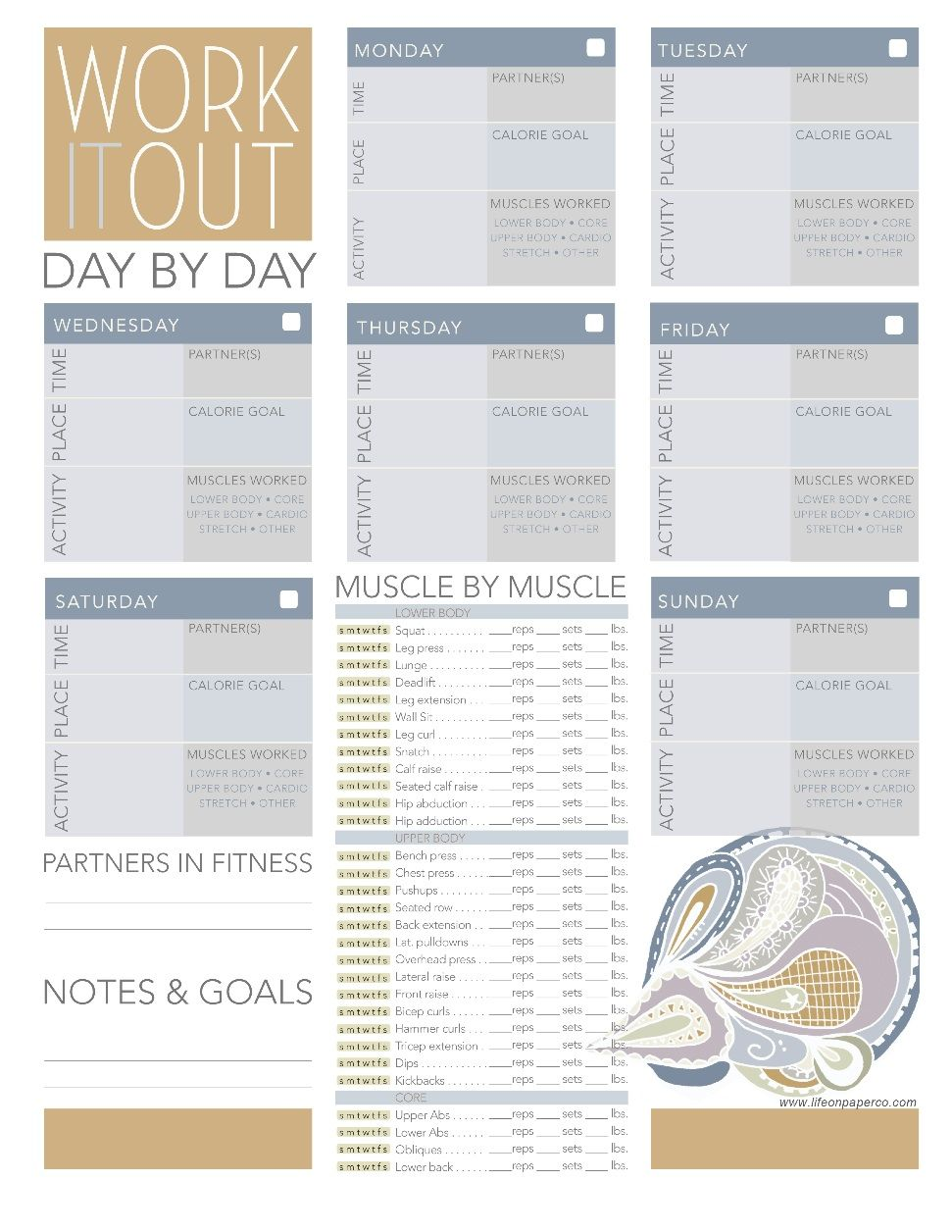 Free Worksheets pdf files to help you organize your life weekly – Weekly Exercise Plans