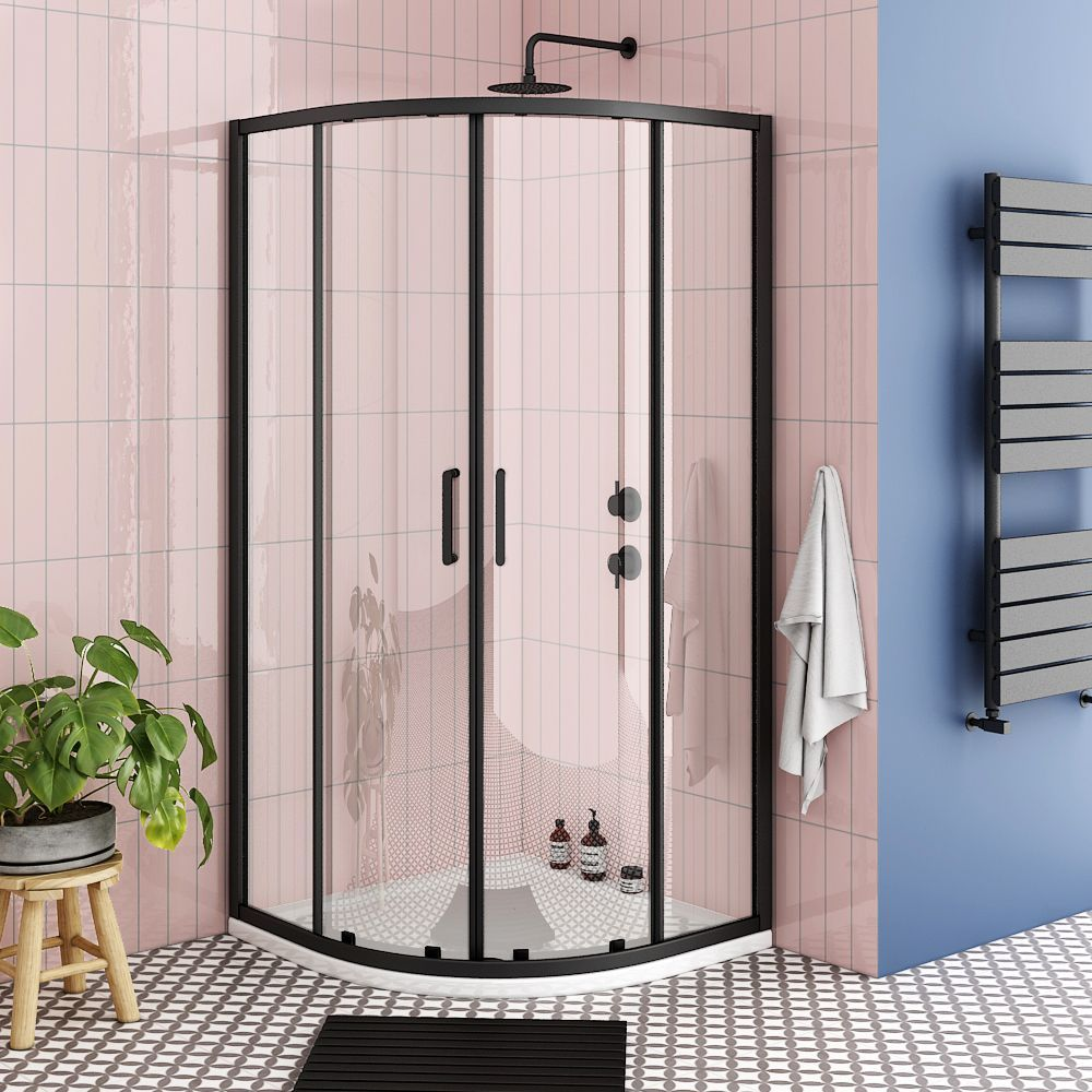 Turin Matt Black 800 X 800mm Quadrant Shower Enclosure Victorian