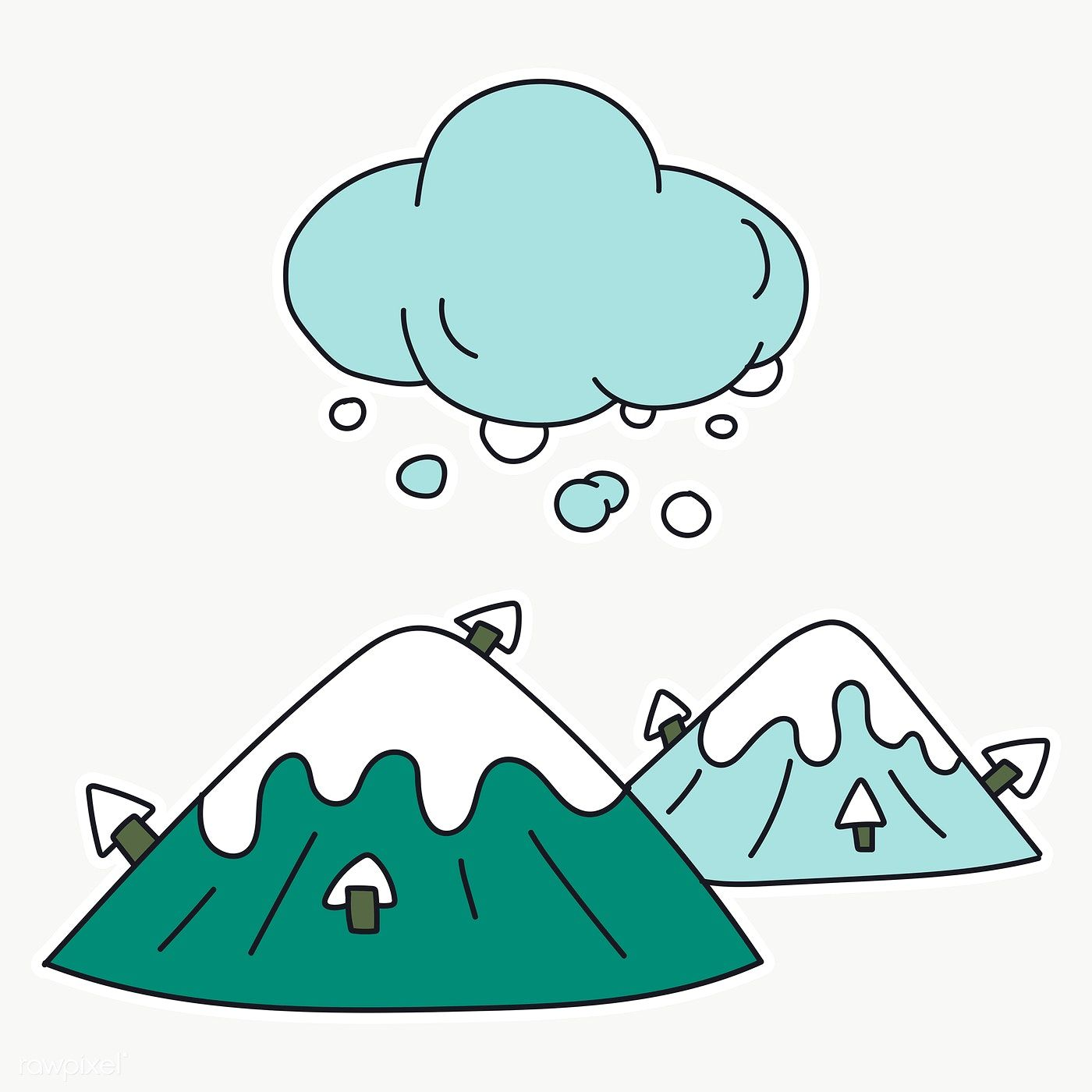 Download Premium Png Of Snowy Mountain Sticker Transparent Png 2033672 Transparent Stickers Cartoon Clouds Stickers