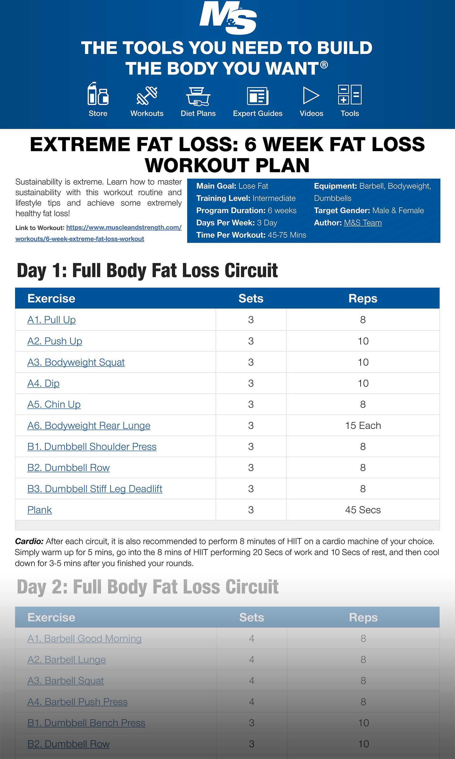 Extreme Fat Loss 6 Week Fat Loss Workout Plan Sustainability is extreme Learn how to master sustainability with this workout routine and lifestyle tips and achieve some e...