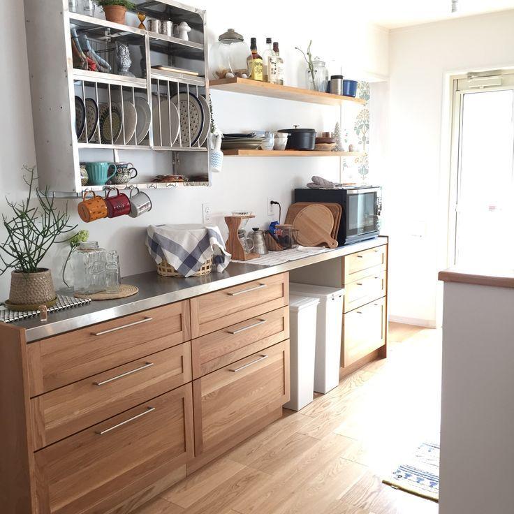 イケア キッチンに 扉に塗装 の画像検索結果 リビング キッチン インテリア キッチン 吊り戸棚 収納
