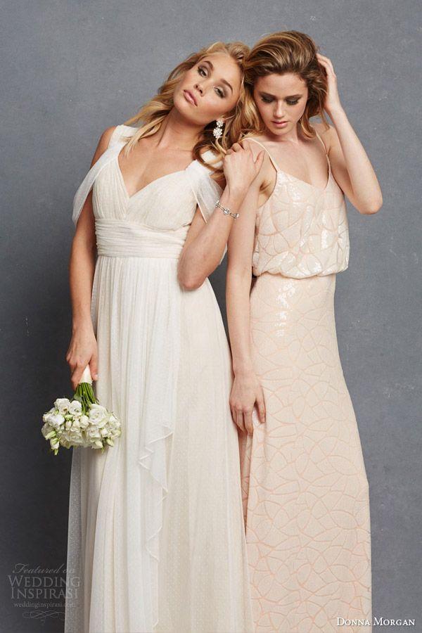 Donna Morgan Bridal Bridesmaid Dresss Colette Gown Shoulder Drape Olivia Blouson Sleeveless Bridesmaidsdresses