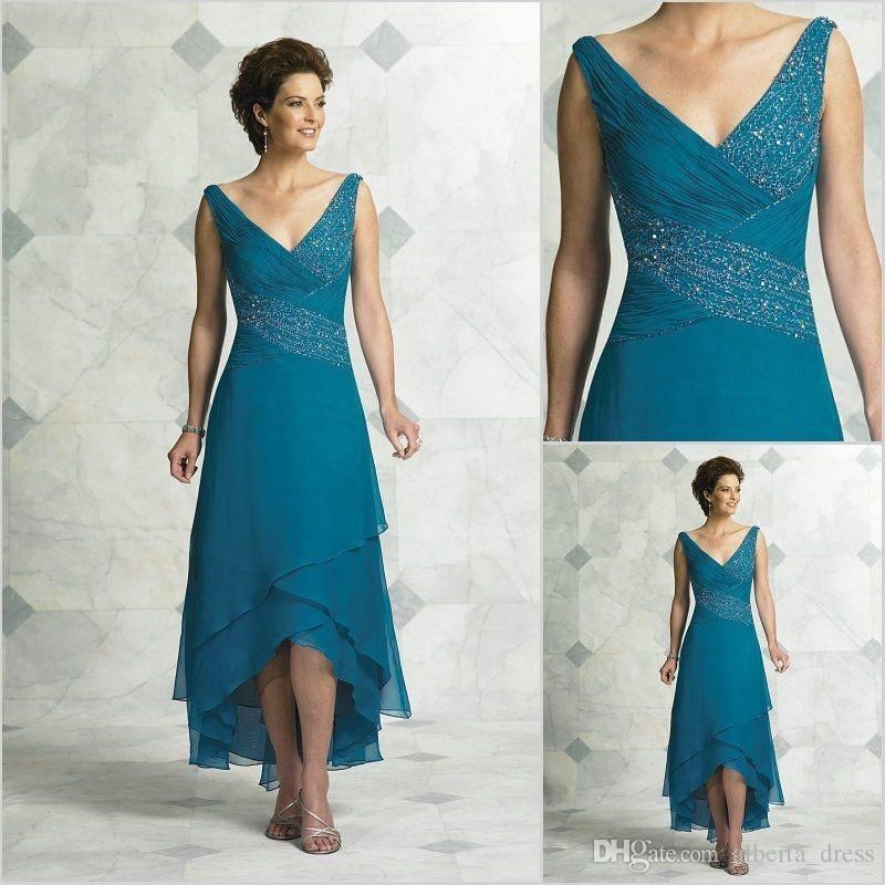 V Neck Hi Lo Teal Chiffon Mother Of The Bride Dresses 2016 Vintage Beads Bodice Dark Green Evening Dress Formal Gown As Low 104 27