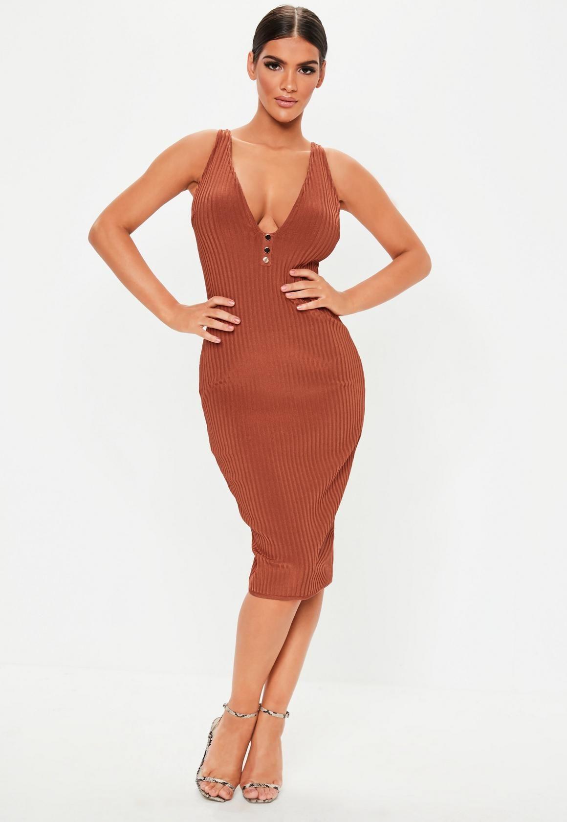 485f2f270a Missguided - Rust Sleeveless Bandage Popper Midi Dress in 2019 ...
