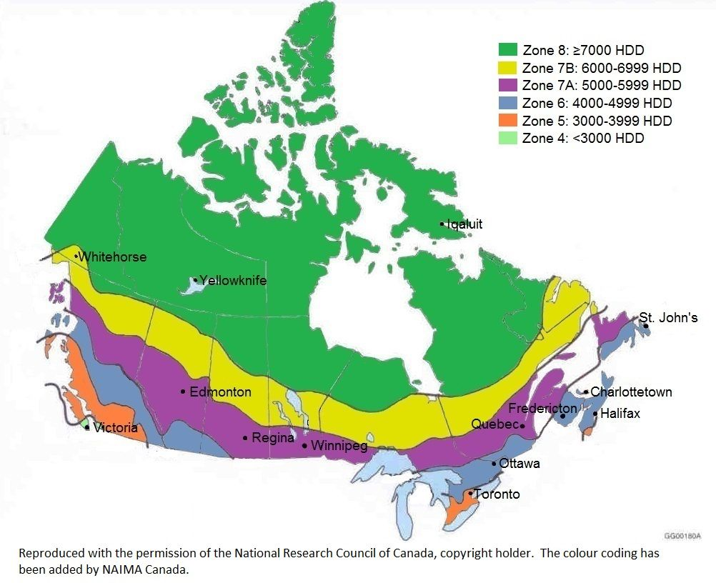 Map Of Canada Climate Zones.Climate Zone Map Of Canada Building Code Coding Standards