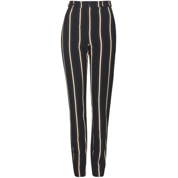 TopShop Tall Stripe Cigarette Trouser (6080 RSD) ❤ liked on Polyvore featuring pants, bottoms, trousers, pantalones, jeans, multi, striped trousers, tall pants, fitted pants and cigarette trousers