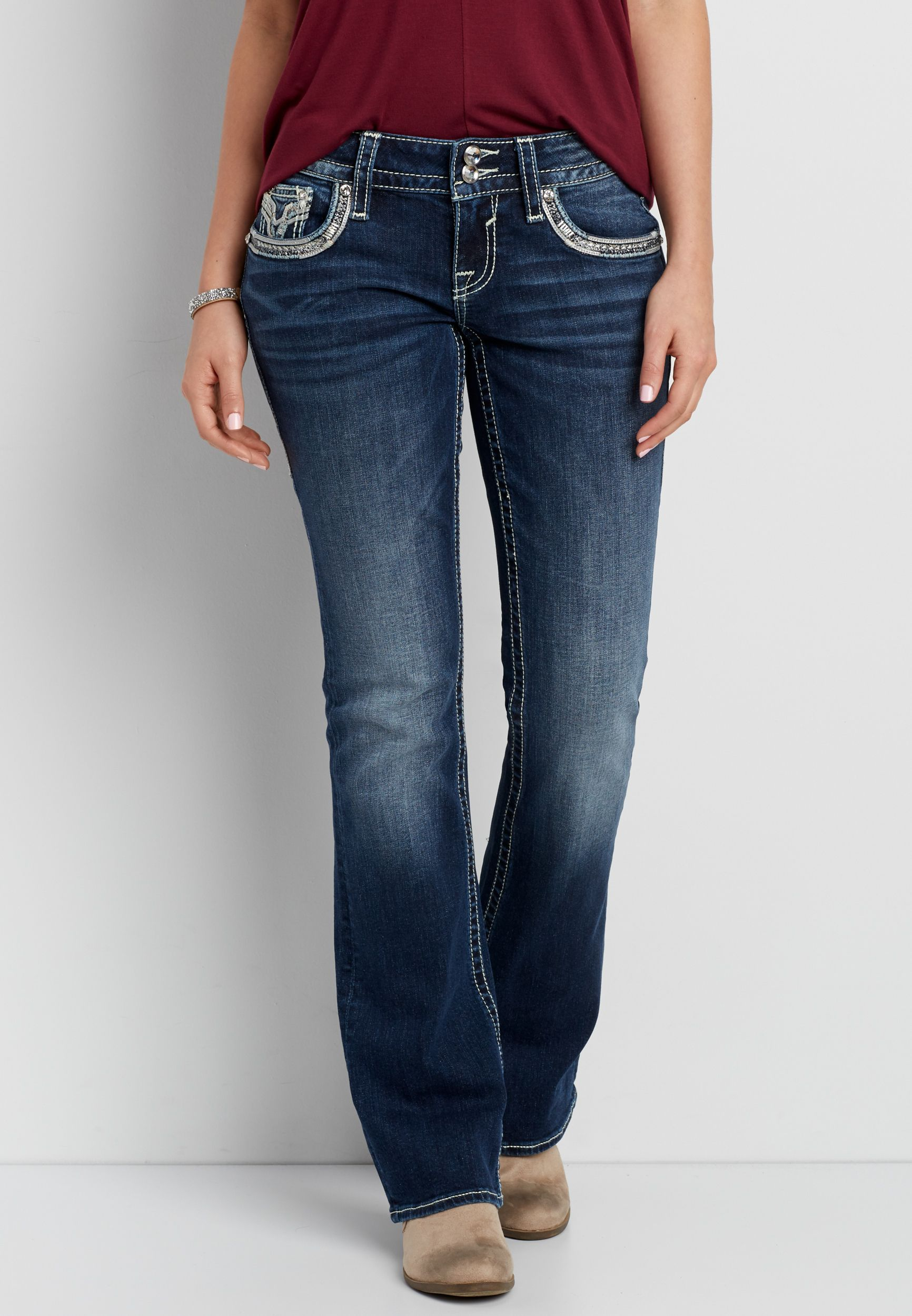 Vigoss® dark wash bootcut jeans with double back pockets