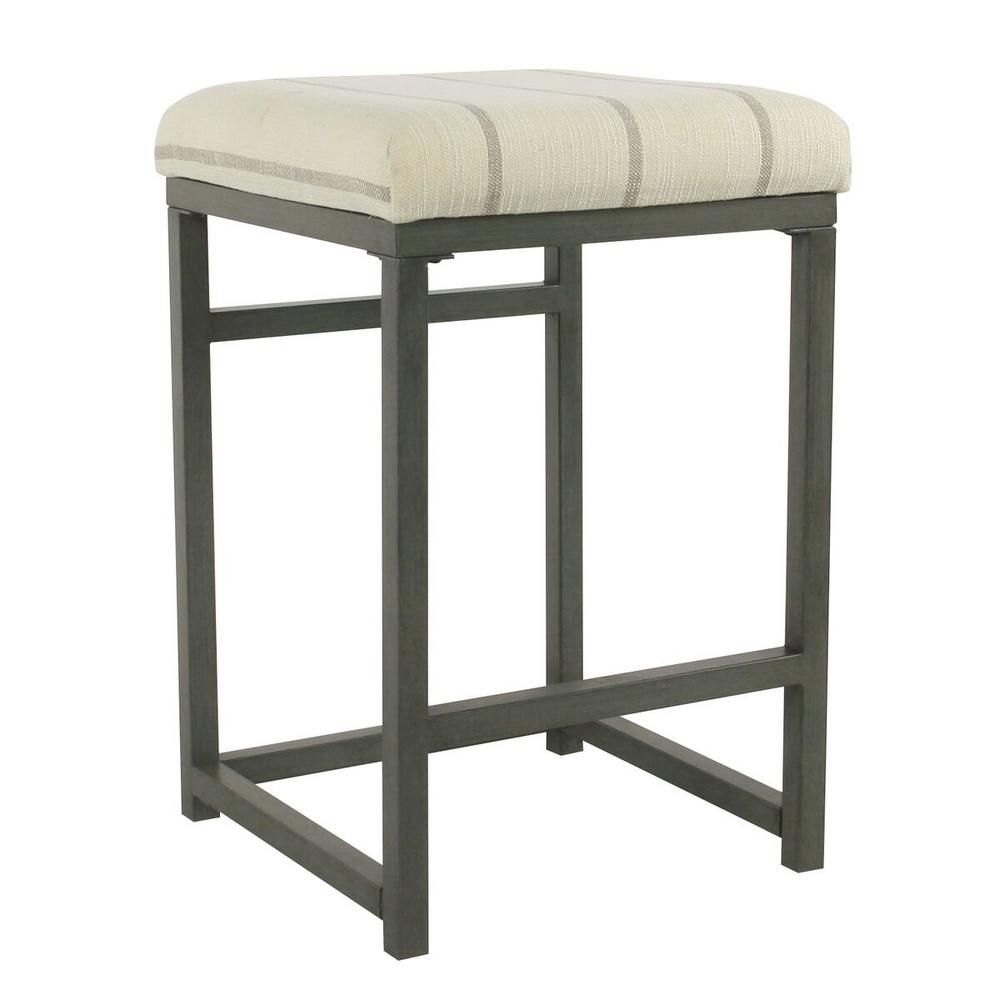 Homepop Open Back 24 In Wicker Grey Bar Stool K7651 24 F2261 The Home Depot Metal Counter Stools Counter Stools Grey Bar Stools