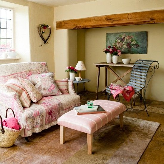 Best Ideas Country Living Rooms Feminine Style With Pink Chic Sofa And Stiped Blue Chair Decorating For Modern
