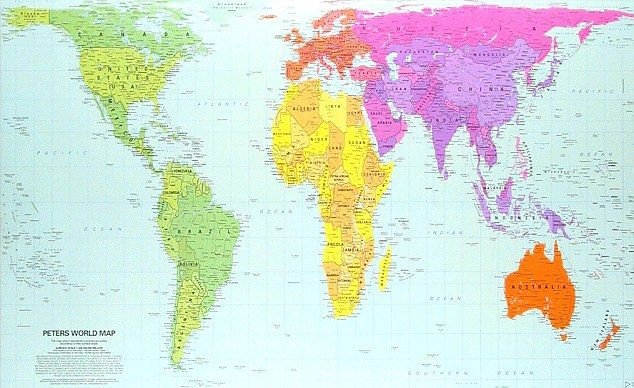 Ten of the greatest maps that changed the world pinterest change peters projection world map which got the proportions roughly right 1974 gumiabroncs Gallery