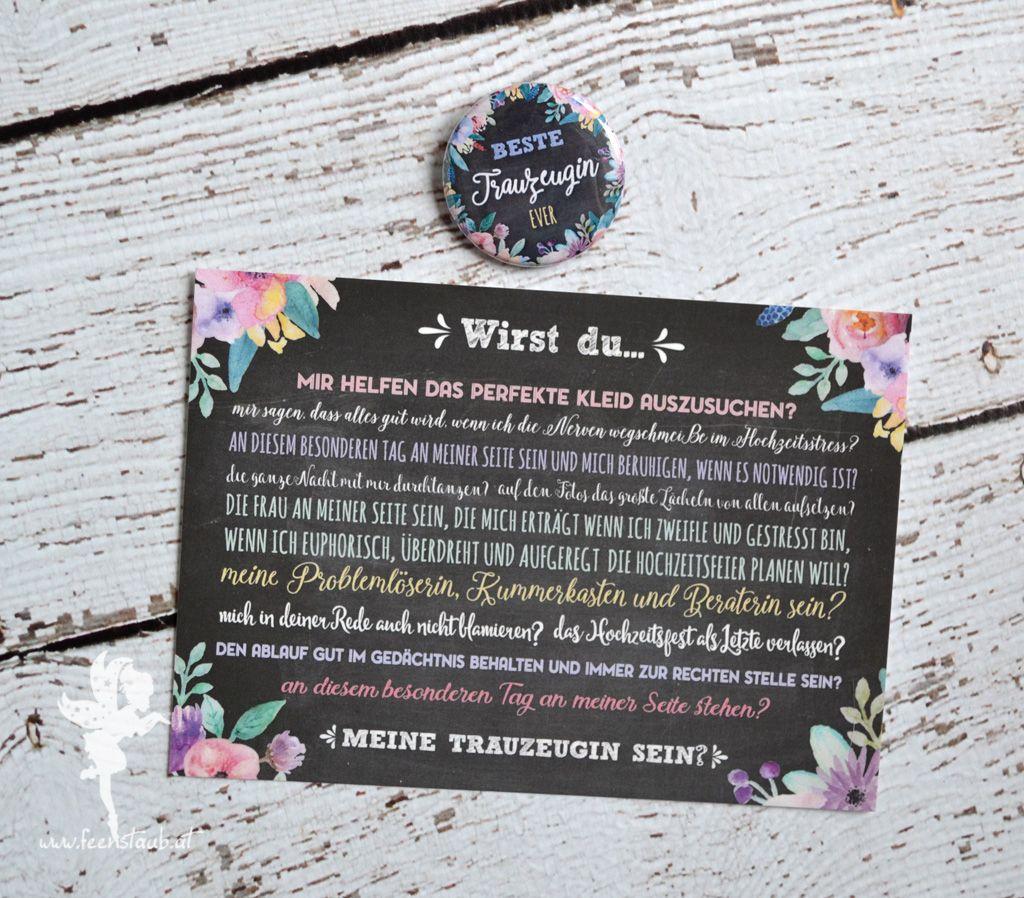 Trauzeugin Geschenk Button  Hochzeit  Trauzeugin