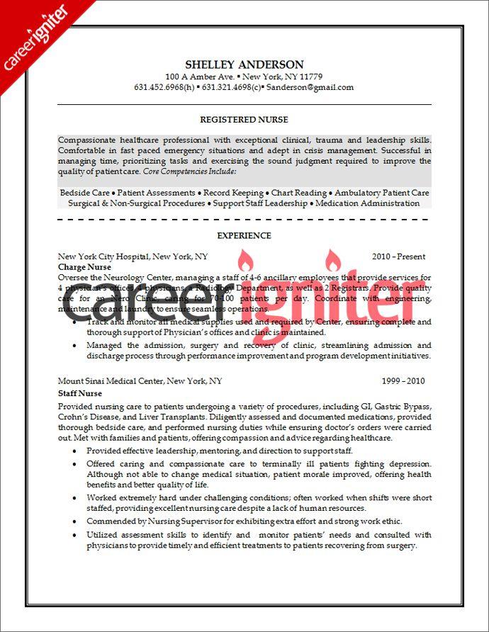 Nurse Resume Sample Career Igniter Registered Nurse Resume Nursing Resume Nursing Resume Template