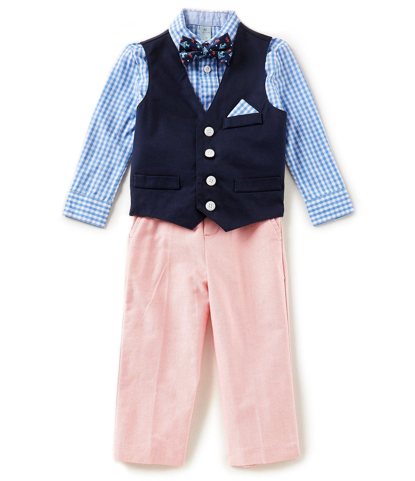 4184af9bddec Class Club Little Boys 2T7 Checked ButtonDown Shirt Vest Pants and Fish Bow  Tie 4Piece Suit Set #Dillards