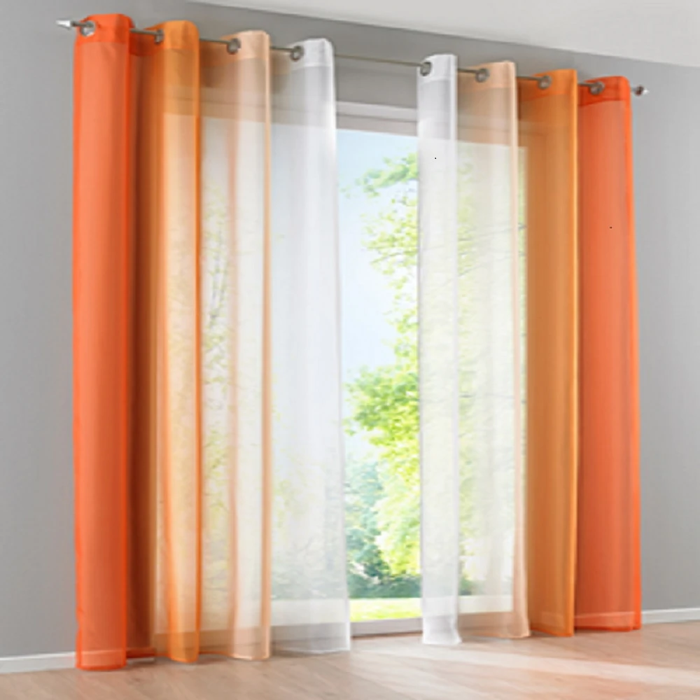Gradient Window Curtains In 2020 Home Curtains Curtains Orange
