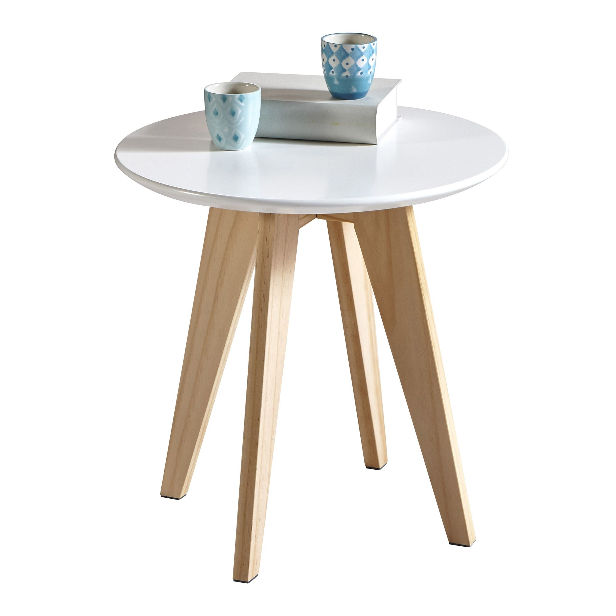 table dappoint ronde en bois blanche rondo - Table D Appoint Ronde