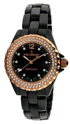 26deaf19f Peugeot Womens PS4892BR Swiss Ceramic Swarovski Crystal Black Dial Watch  >>> Read more reviews of the product by visiting the link on the image.