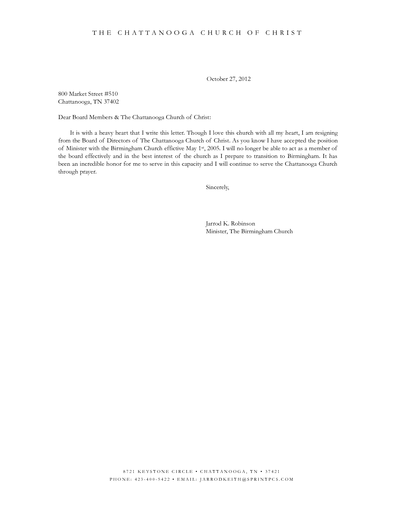 sample resignation letter from board of trustees