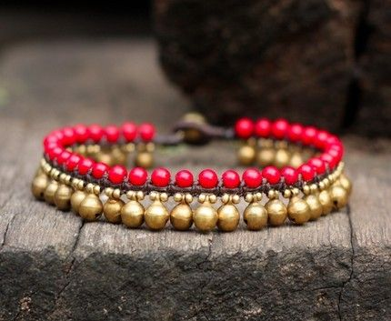 Coral Brass Bell Anklet