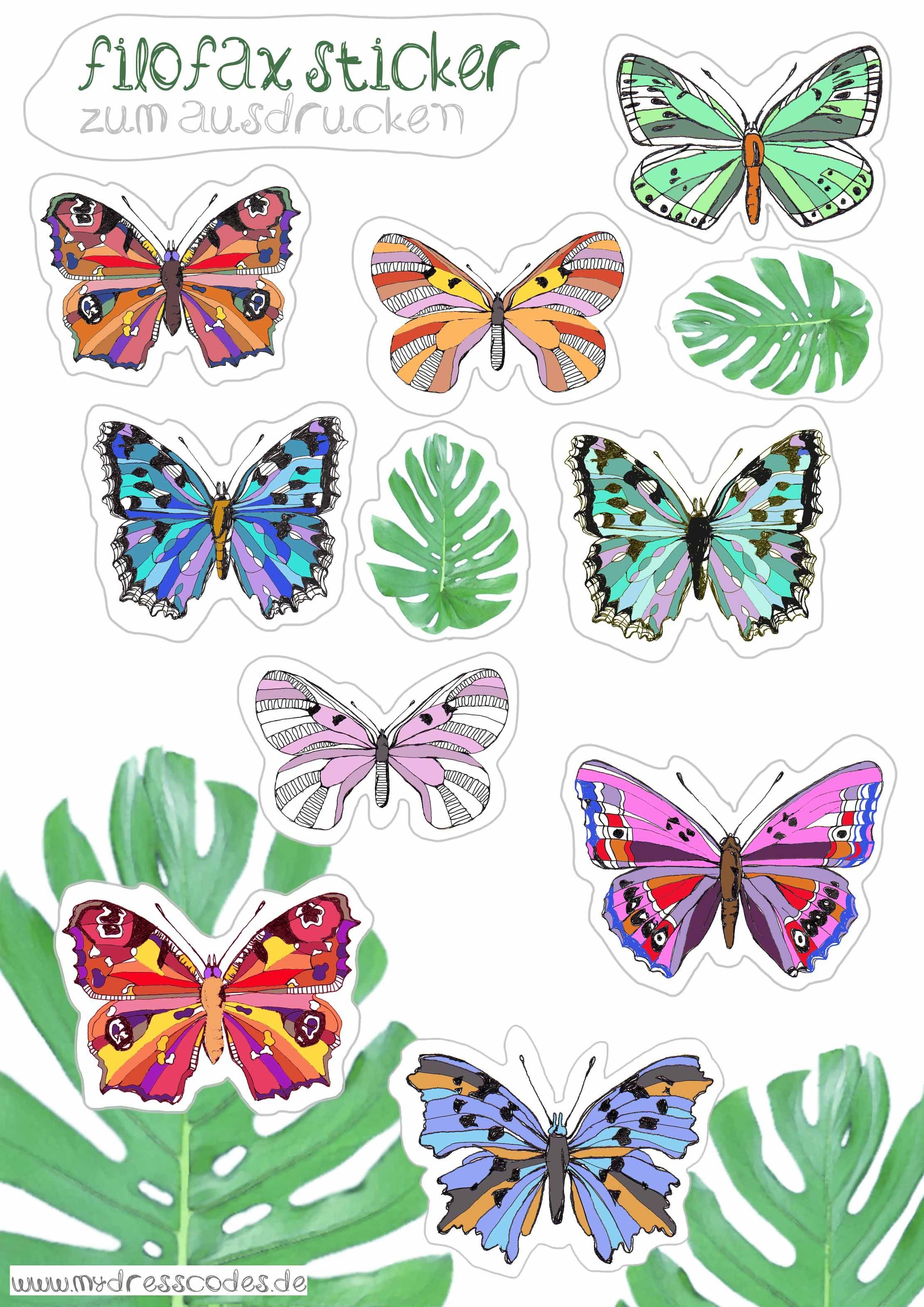 butterflies sticker planner filofax terminkalender zum ausdrucken freebie free printable. Black Bedroom Furniture Sets. Home Design Ideas