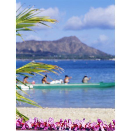 Hawaii Oahu Waikiki Diamond Head Canoe Paddlers With Orchid Lei In The Foreground Canvas Art - Sri Rusden Design Pics (26 x 34)