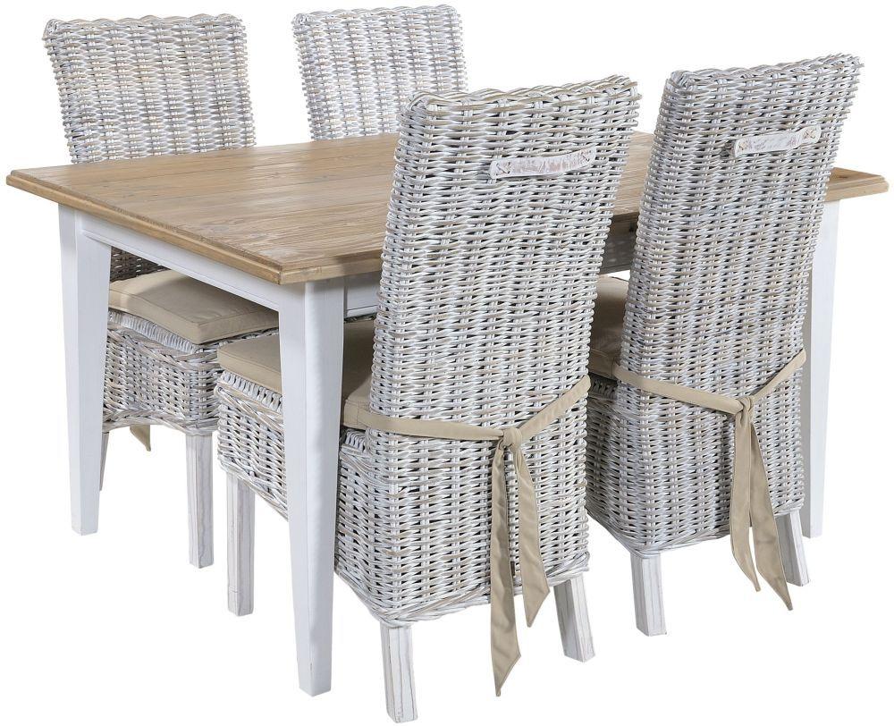 Rowico Lulworth White Dining Table And 4 Maya White Wash Cushion