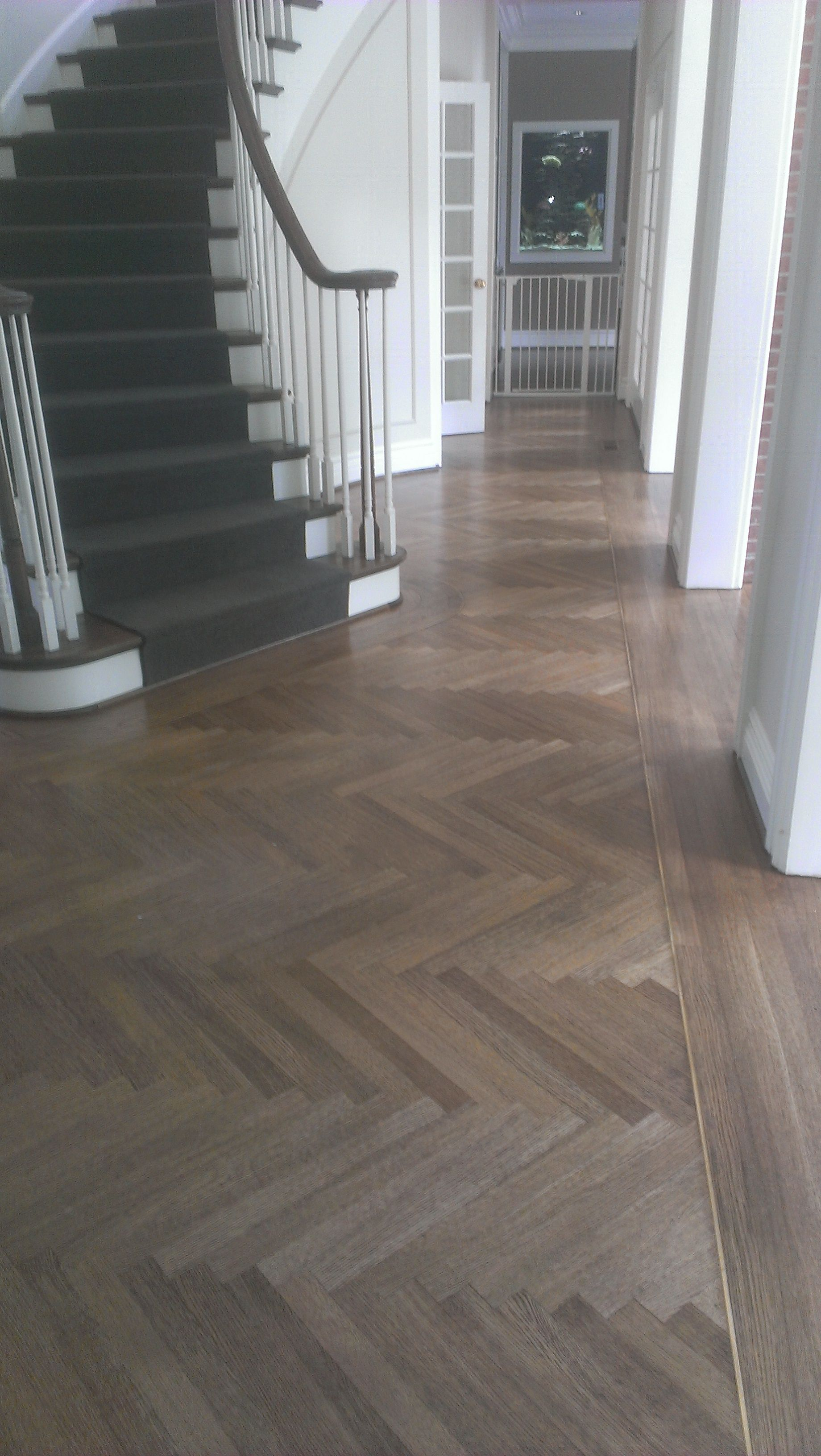 We Do Hardwood Too Herringbone Field With 1 4 Brass Inlay And Border Dark Laminate Floors Wood Floor Design Flooring