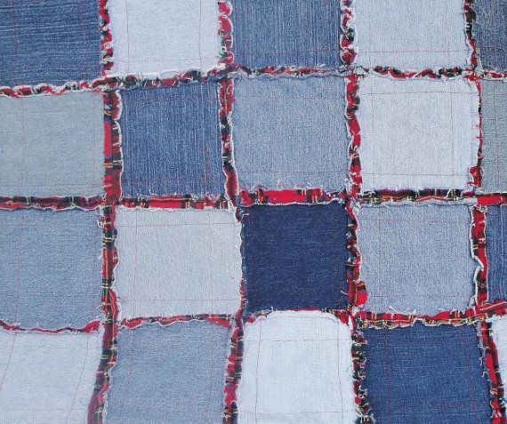 Denim Rag Quilt Frayed Denim Jean Quilt 64 x 49 Blue Denim Red and Black Plaid Flannel on reverse    This Rag Quilt is one of my favorite quilts. I know it will go to someone that will enjoy and love it as much as I did making it. I used the best new and up cycled denims. The blues are beautiful and the red and black flannel seemed like a natural choice for the backing.    It is a great versatile size 64 x 49 small bed, couch throw, lap quilt, picnic or beach blanket. It is warm, soft but…