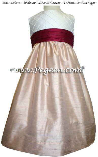 c3cc5af2c4e Cranberry and Peach Flower Girl Dresses by Pegeen.com
