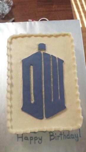 Doctor Who Tardis sheet cake Kates Bakes my cakes more