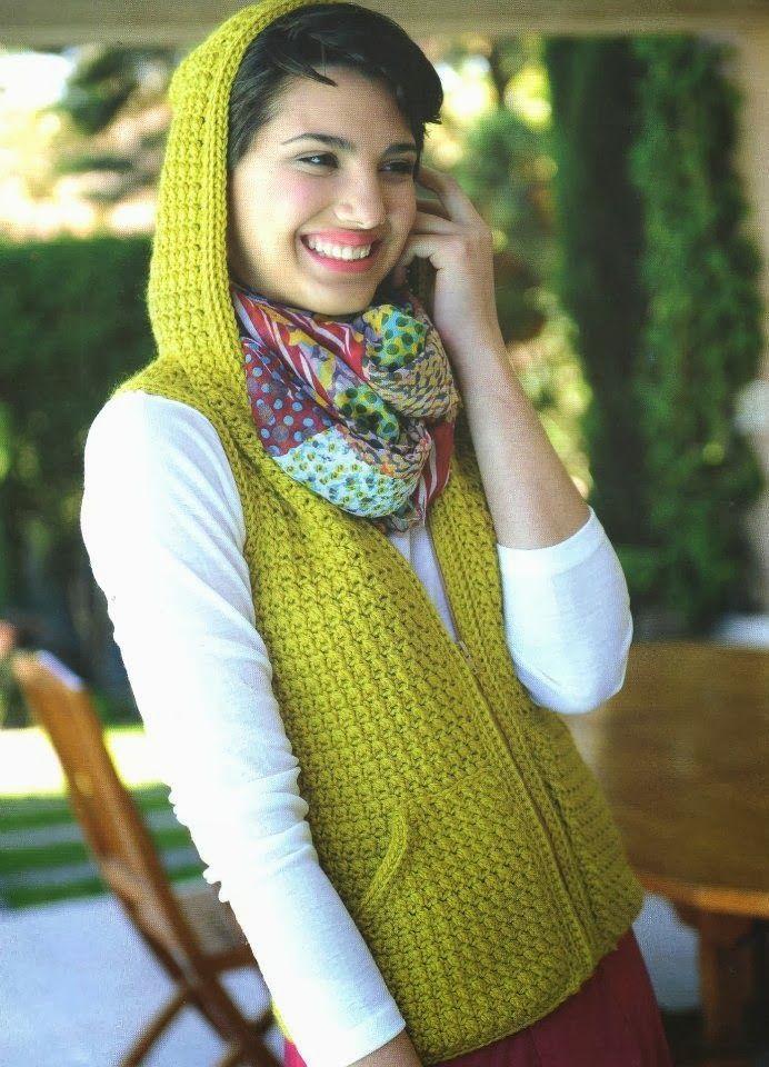 Chaleco con Capucha de Crochet Patron - Patrones Crochet | crochet ...