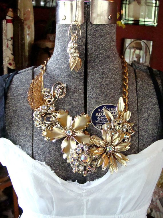 Mid Century Assemblage Vintage Salvaged Statement Necklace: There Are No Words - ReaganJuel. $120.00, via Etsy.