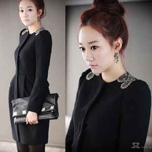 2013 Winter Women's Wool Blends Coat Outerwear Epaulettes Beading Slim Black Trench Size XS-3XL $52.00