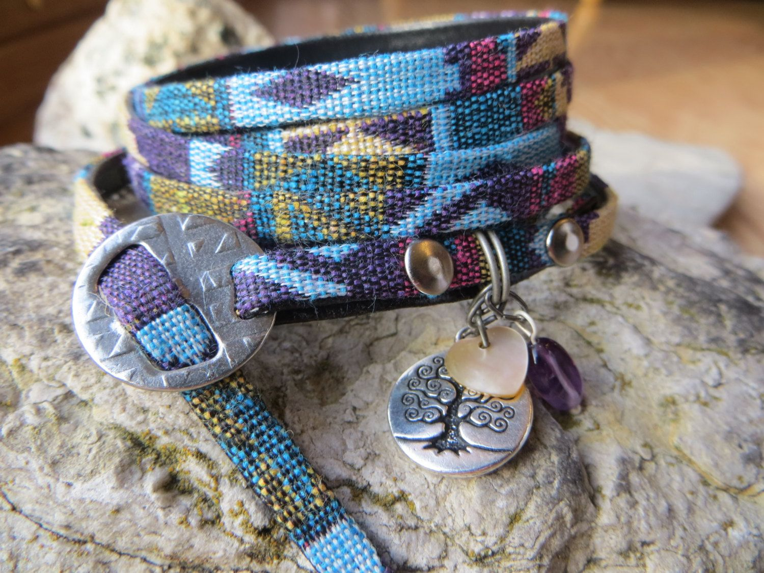 Multi Wrap Woven Cotton Cord Bracelet Six Wrap With Charms Adjustable Purple Silver by ToZenAndBack on Etsy https://www.etsy.com/listing/260902198/multi-wrap-woven-cotton-cord-bracelet