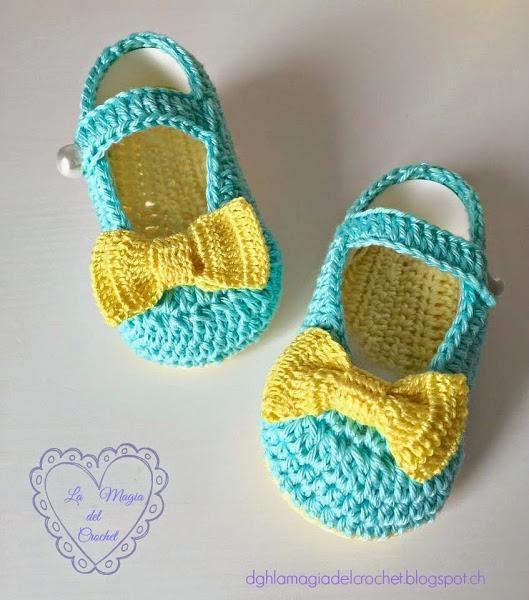 Bailarinas a crochet ... ¡para bebé! | Baby-schuhe häkeln, Schuhe ...