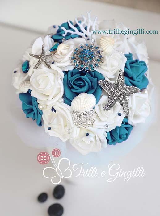 Bouquet Sposa Tema Mare.Bouquet Gioiello A Tema Mare Con Rose Blu Ottanio E Bianche