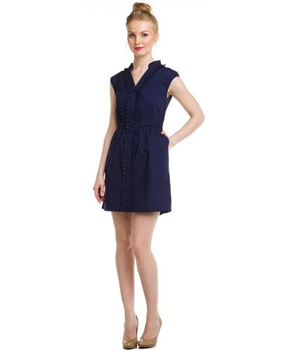 Cute casual day dress. vfish Navy Sleeveless Buttonfront Shirt Dress