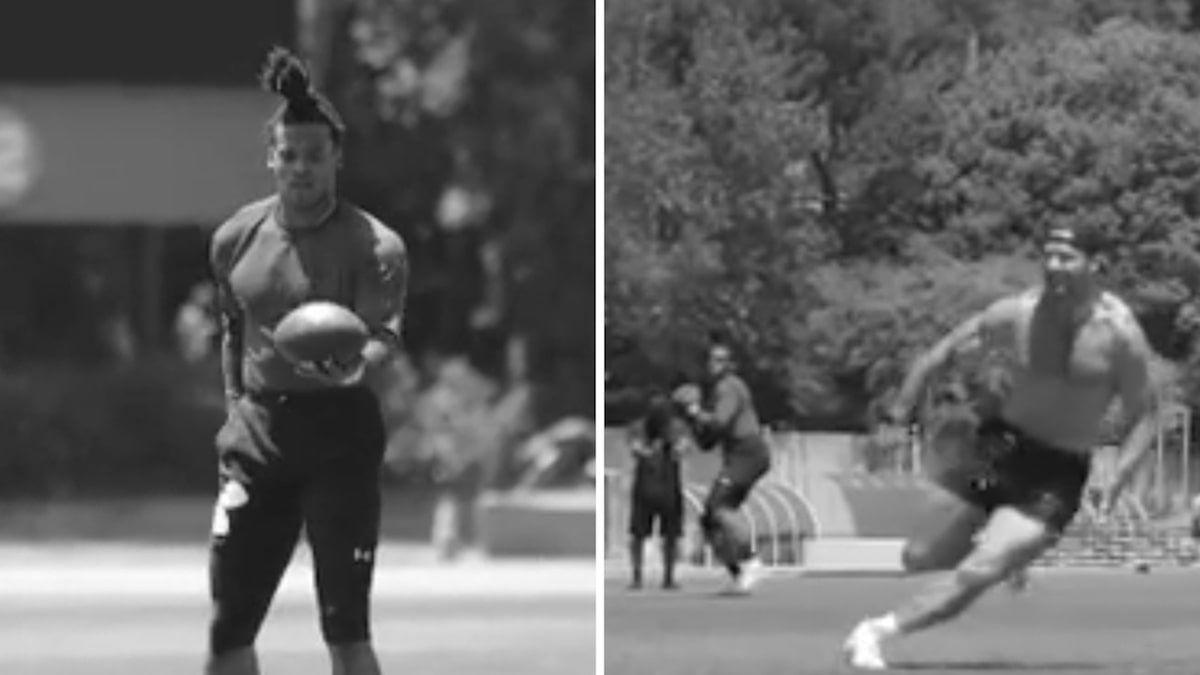 Cam Newton Works Out With Shirtless Julian Edelman Great Ball Vpchurchill In 2020 Julian Edelman Cam Newton Julian