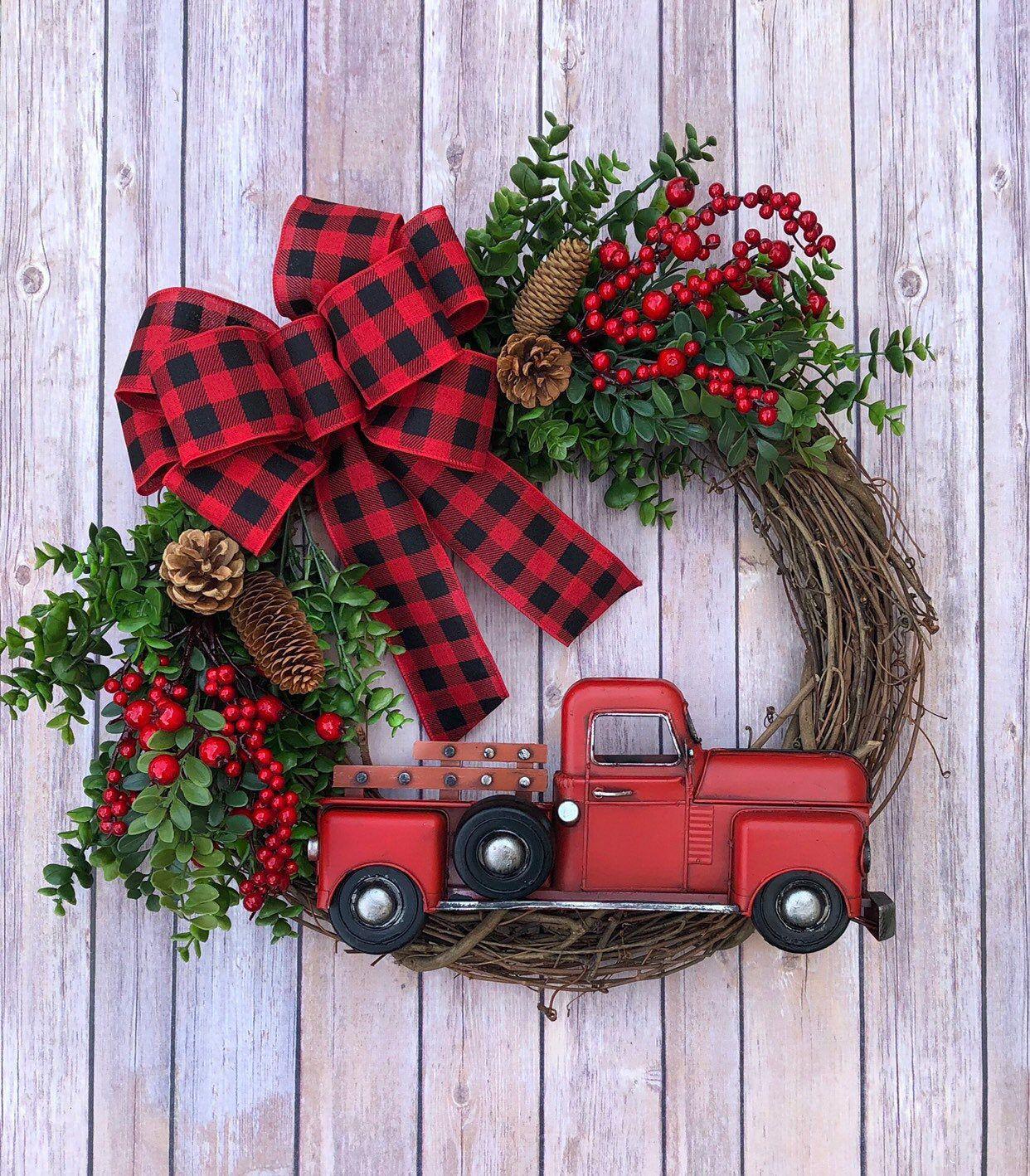 Photo of Christmas wreath Christmas wreath Red truck wreath | Front door wreath | Buffalo Plaid Wreath | Peasant wreath | Wreath for the door