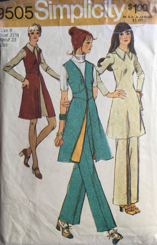 long vintage vest with pattern