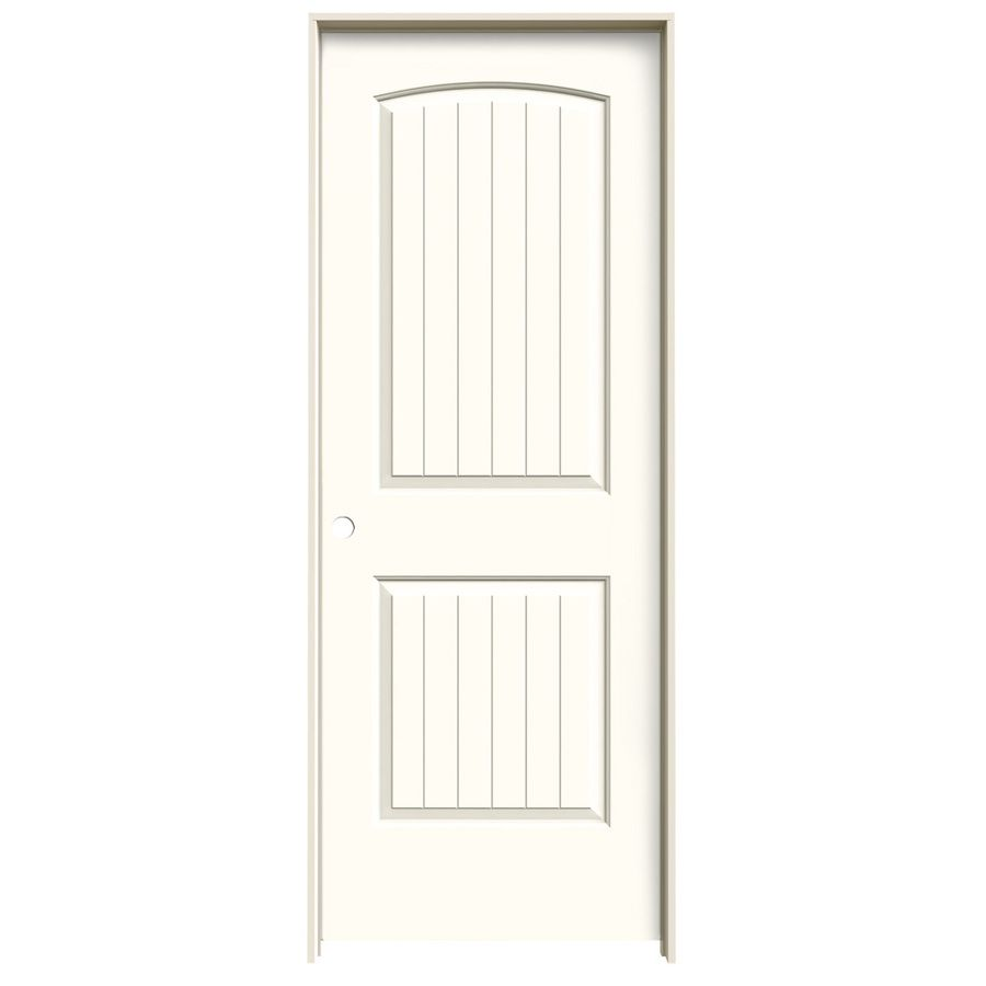 JELD WEN Moonglow Prehung Solid Core 2 Panel Round Top Plank Interior Door (