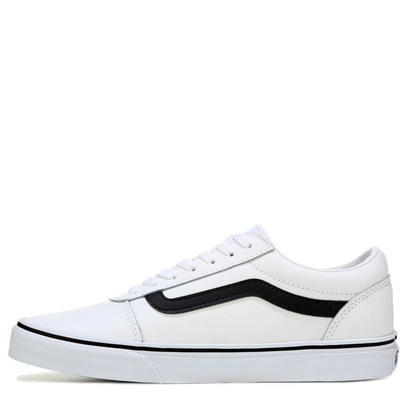 dc44b8cbaf Vans Men s Ward Low Top Leather Skate Shoes (White Black Leather)